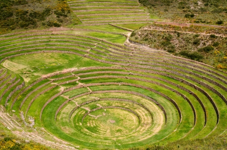 Peru, Moray, ancient Inca circular terraces  Probable there is the Incas laboratory of agriculture Stock Photo