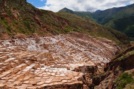 Peru, Salinas de Maras, Pre Inca traditional salt mine (salinas).  photo