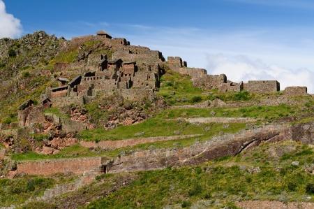 Peru, Pisac (Pisaq) - Inca ruins in the sacred valley in the Peruvian Andes photo
