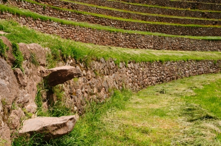 Peru, Moray, ancient Inca circular terraces. Probable there is the Incas laboratory of agriculture photo