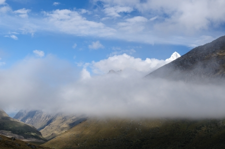 Peru, Beautiful Cordillera Blanca mountain on the Santa Cruz Trek  The picture presents Qebrada Santa Cruz valley photo