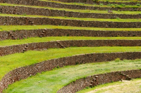 Peru, Moray, ancient Inca circular terraces  Probable there is the Incas laboratory of agriculture photo
