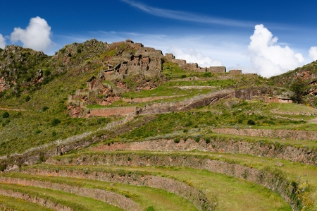 sacred valley: Peru, Pisac  Pisaq  - Inca ruins in the sacred valley in the Peruvian Andes Stock Photo