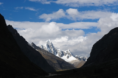 The picture presents Peru, Beautiful Cordillera Blanca mountain on the Santa Cruz Trek  photo