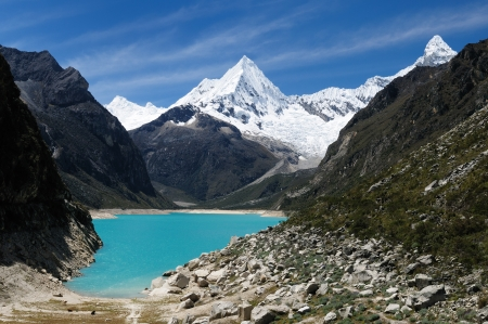Peru, Beautiful Cordillera Blanca mountain. The picture presents lagoon Paron and snowcovered Piramide de Garcilaso peak