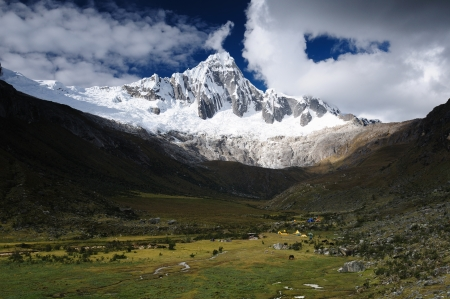 Peru, Beautiful Cordillera Blanca mountain on the Santa Cruz Trek. The picture presents Taullipampa camp