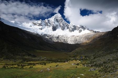 Peru, Beautiful Cordillera Blanca mountain on the Santa Cruz Trek. The picture presents Taullipampa camp