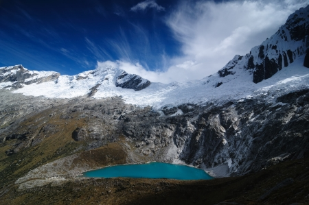 The picture presents Peru, Beautiful Cordillera Blanca mountain on the Santa Cruz Trek. photo