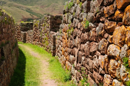 Peru, Pisac  Pisaq  - Inca ruins in the sacred valley in the Peruvian Andes  Stock Photo