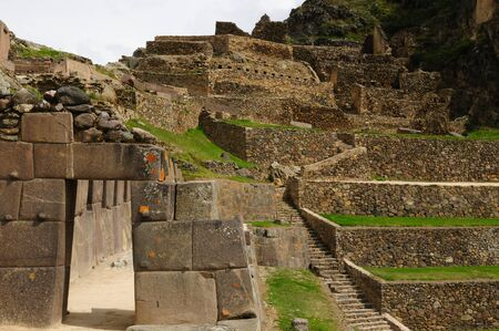 Peru, Ollantaytambo - Inca fortress in the sacred valley in the Peruvian Andes  The picture presents main gate to the Sun temple photo