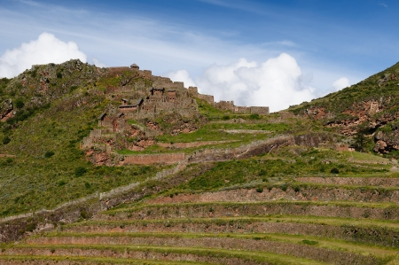 Peru, Pisac  Pisaq  - Inca ruins in the sacred valley in the Peruvian Andes  The picture presents  photo