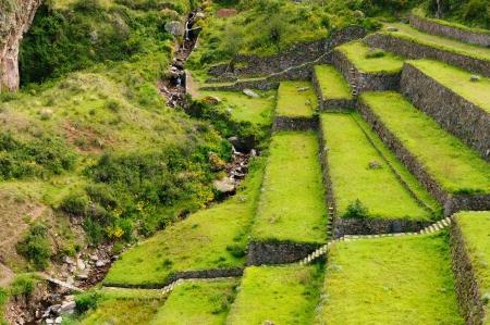 pisaq: Peru, Pisac  Pisaq  - Inca ruins in the sacred valley in the Peruvian Andes  The picture presents field terraces Stock Photo