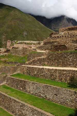 Peru, Ollantaytambo - Inca fortress in the sacred valley in the Peruvian Andes photo