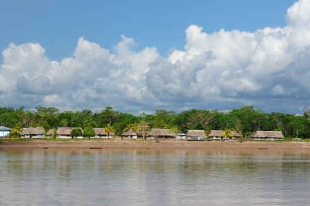 amazonas: Peru, Peruvian Amazonas landscape  The photo present typical indian tribes settlement in the Amazon