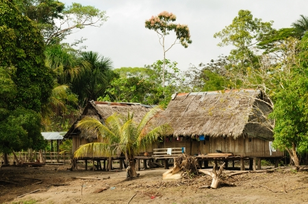 Peru, Peruvian Amazonas landscape. The photo present typical indian tribes settlement in the Amazon Editorial