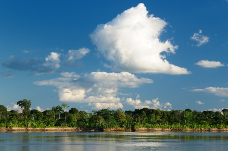 Peru, Peruvian Amazonas landscape. The photo present reflections of Amazon river photo