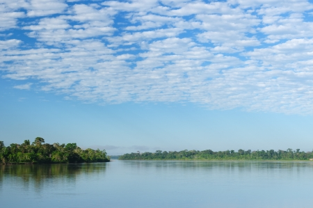 Peru, Peruvian Amazonas landscape. The photo present reflections of Amazon river Stock Photo