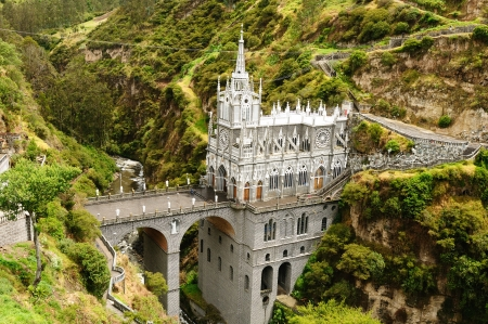 Colombia, church of Las Lajas  built between 1916 and 1948 is a popular destination for religious believers from all part of Latin America, topographically the most beautiful in the world