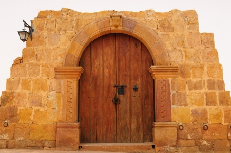 Colombia, Santander, Colonial village of Barichara, near San Gil  The main entrance home in the old style Stock Photo - 17447033