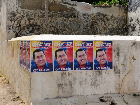 Election poster on the wall of the president of Venezuela Hugo Chavez trying re-elections to get in presidential elections in 2012