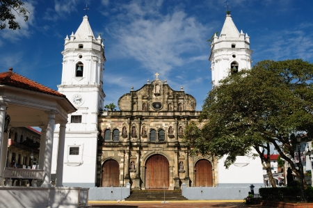 Panama, Casco Veijo is historical colonial center of Panama City  Cityscape - old town - colonial cathedral