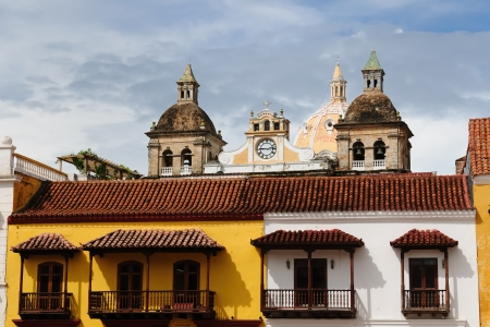 Cartagena - the colonial city in Colombia is a beautifllly set city, packed with historical monuments and architectural treasures  The picture present view on the colonial old town in Cartagena