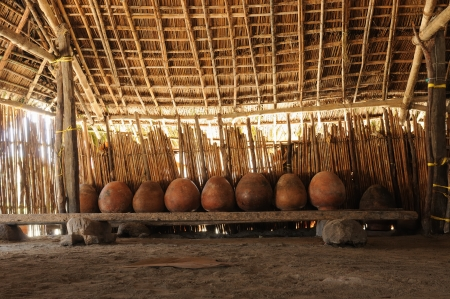 tigre: Panama, Traditional house kuna indians with the roof thatched on a Tigre island on the San Blas archipelago - casa de chicha