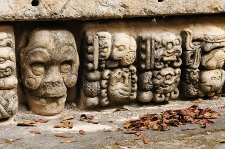 Honduras, Mayan city ruins in Copan  The picture presents detail of decorating walls of the temple