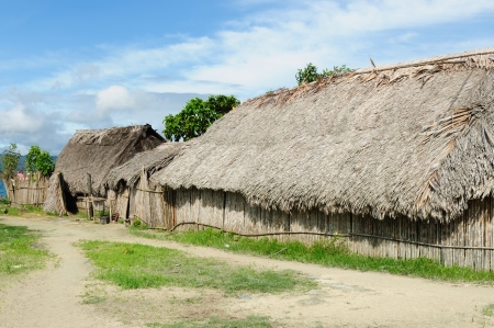 tigre: Panama, Traditional house kuna indians with the roof thatched on a Caledonia island on the San Blas archipelago Stock Photo