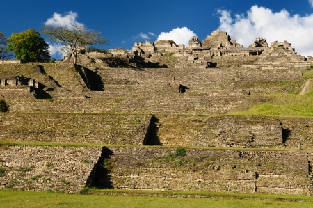 Mexico, The towering ceremonial core of Tonina. near Ocosingo comprises one of the Maya worlds imposing temple complex. The picture presents general view of the temple complex