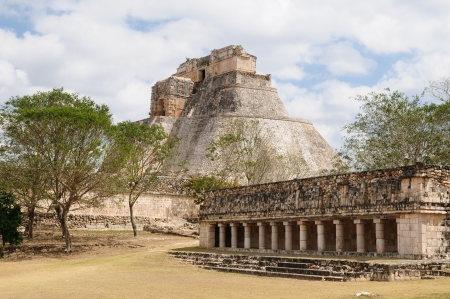 Mexico, Uxmal Maya ruins is the archaeological site of greatest relevance in the Puuc Route. Renowned for the beautiful friezes of its buildings facades, created with small stones perfectly polished photo