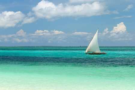 Tanzania, Traditional fishing boats on the Zanzibar island   photo