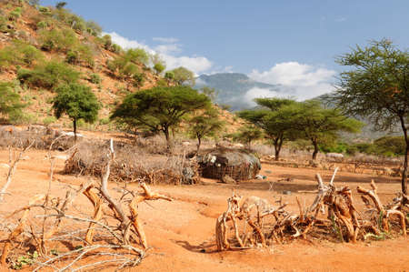 mud house: Traditional round mud house in Kenya, South Horr