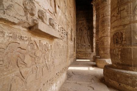 obelisk stone: Medinet Habu ancient temple, Egypt, Thebes Stock Photo