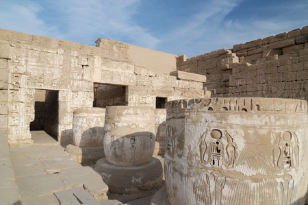 thebes: Medinet Habu ancient temple, Egypt, Thebes Stock Photo