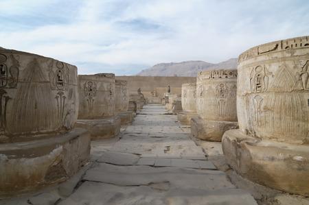 obelisk stone: Ruins of Medinet Habu ancient temple, Egypt, Luxor Stock Photo