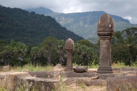 pu: Wat Pu buddist temple, Laos, Paxe Stock Photo