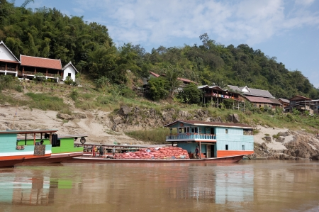 Boat on the Mekong river, Laos