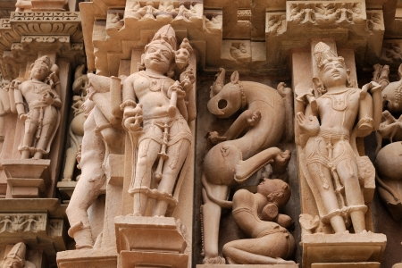 madhya pradesh: Sculptures religious sybmboli of the Indian faith on walls of temples in Khujaraho temples  Madhya Pradesh, India