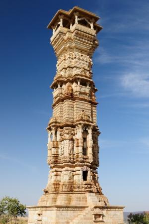 India, Rajasthan  Beautifoul Fort Chittor   Kirti Stambha