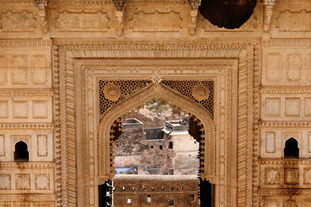 India, detail of the decorated in the palace in the Bundi city in Rajasthan