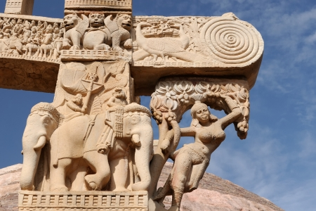 bhopal: Detail of the gate of of Great Buddhist Stupa in Sanchi, Madhya Pradesh, India