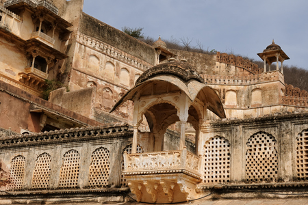 rajput: India, detail of the decorated balcony in the palace in the Bundi city in Rajasthan