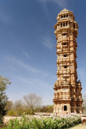 chittorgarh fort: Beautifoul Fort Chittor in  Chittorgarh, India  Rajasthan  Jaya stambha Editorial
