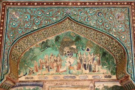 India, detail of the decorated wall in the palace in the Bundi city in Rajasthan
