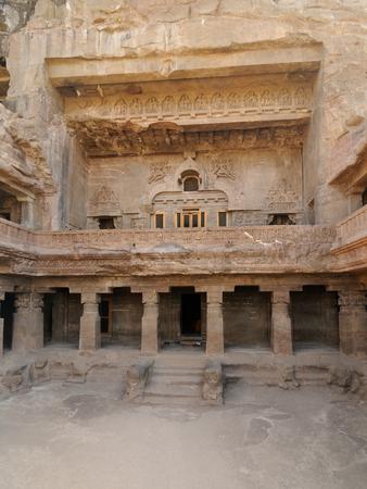 maharashtra: Buddhist temples forged in rocks in the Ajanta town in India, Maharashtra, India