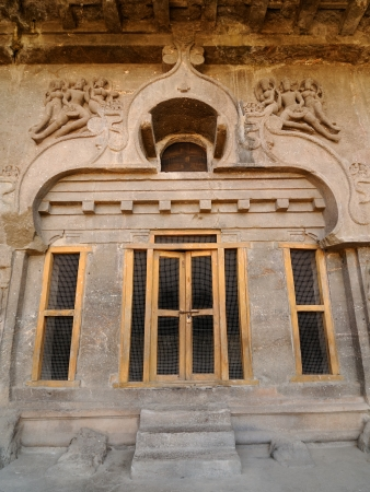 maharashtra: Buddhist temples bored in rocks in the Ellora town in India, Maharashtra, India