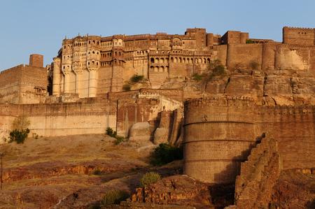 India, Majestic Fort maharaja of Jodphur on the hill near Jodphur city  Rajasthan