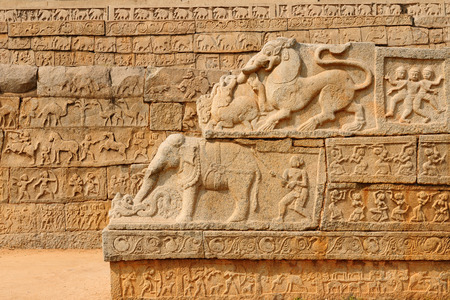 beautifull: Indian ancient architecture in HampI, Ancient bas-relief Stock Photo