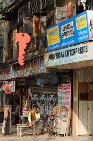 bustling: KOLKATA, INDIA - DECEMBER 05  Hindu bustling street in Kolkata, Kolkata in December 05, 2009